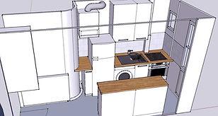 Conception aménagement cuisine IKEA, vue 3D, contraintes de surface, cuisine étroite