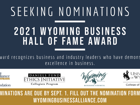 Nominations open for the Wyoming Business Hall of Fame awards
