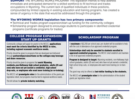 Broad based Support for SF 122 Wyoming Works Program