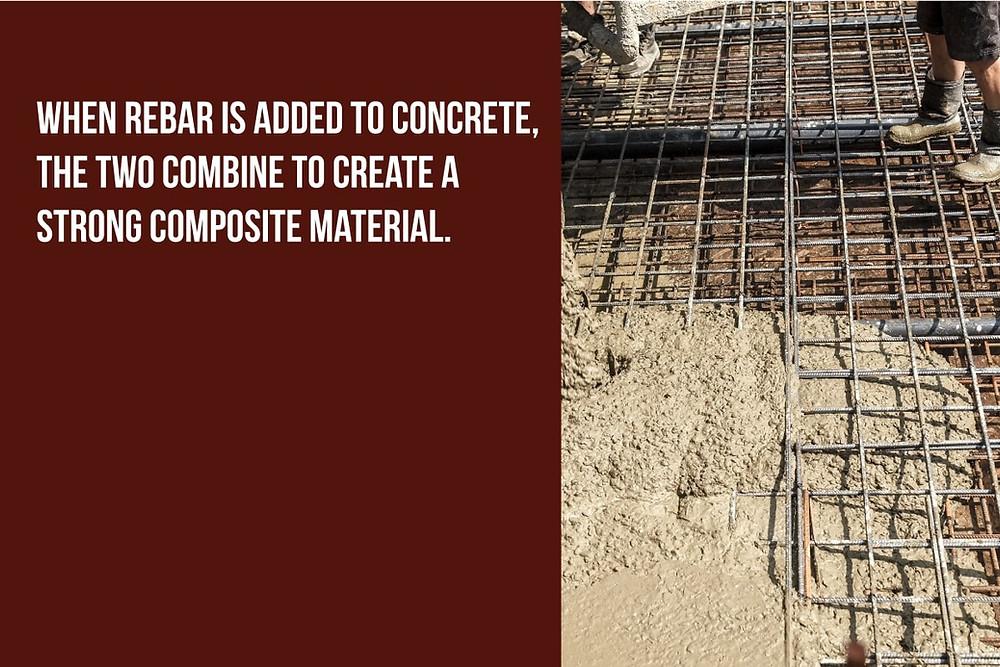 adding rebar to concrete makes a strong composite material