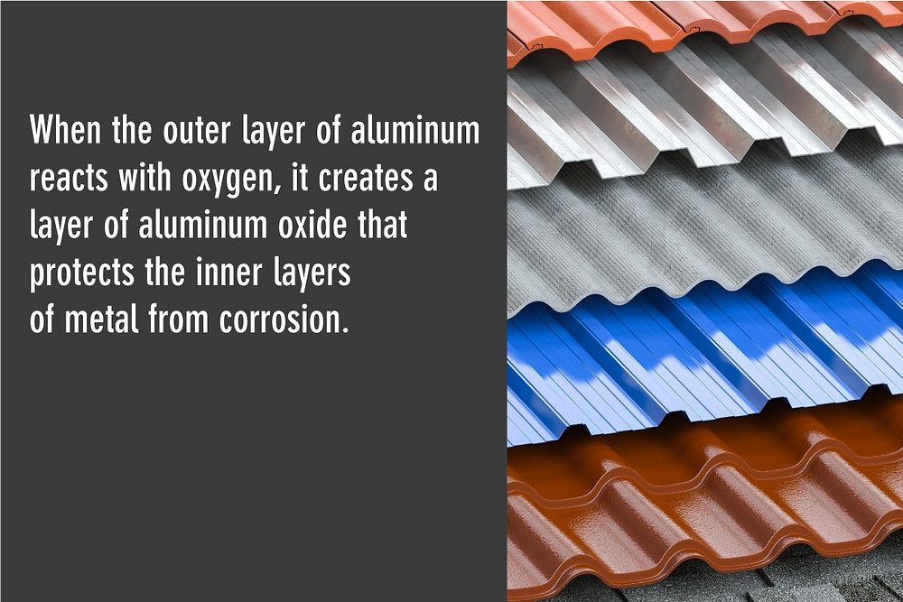 aluminum reacts with oxygen to make a layer of aluminum oxide