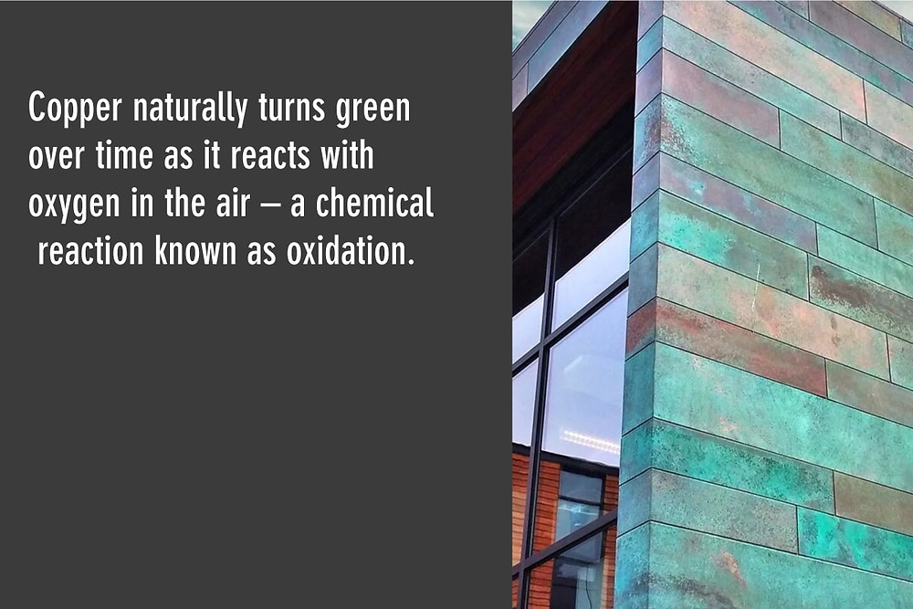 copper naturally turns green over time from oxidation