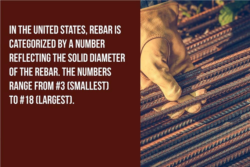 in the U.S. rebar is categorized by its diameter