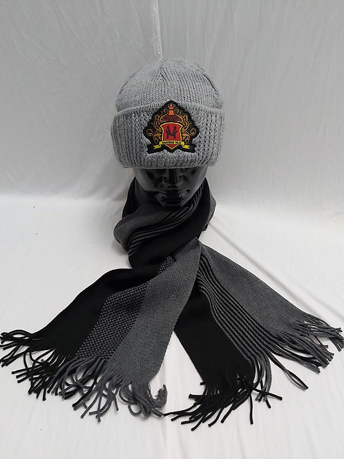 Solid Knitted Beanie with logo crest and scarf