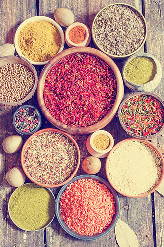 Herbs and spices from our kitchen cupboards to the himalayas can be used in Ayurveda.