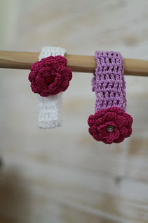 Handmade crochet headband with removeable flower