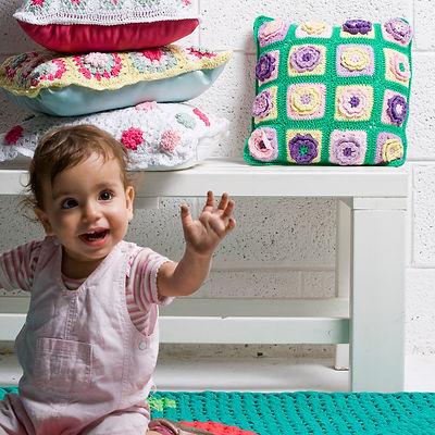 Handmade crochet Granny square pillow