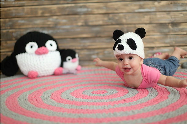 Handmade crochet Cotton yarn hat. Handmade crochet panda hat