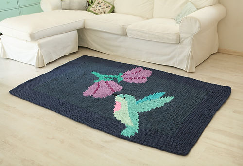 "Handmade crochet cotton yarn carpet from ""out of the carpet"" collection"