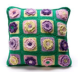 100% cotton crochet granny square pillow
