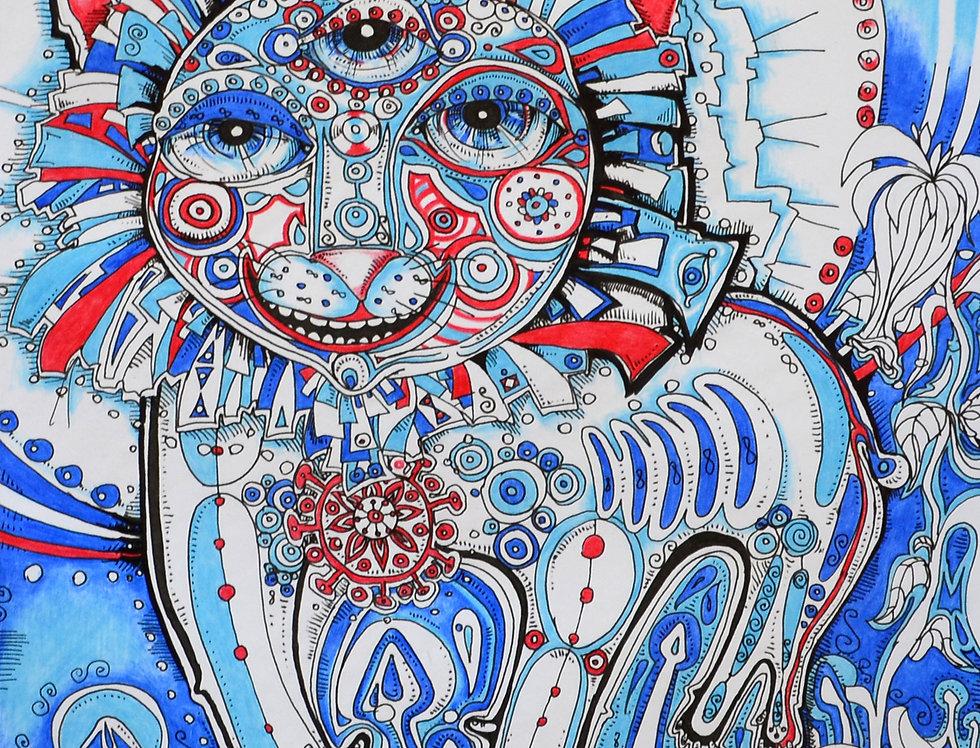Blue Tomcat, High Quality Giclée Print