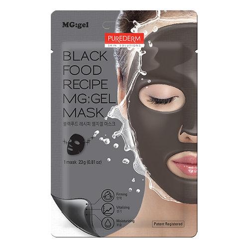 ჰიდროგელის სახის ნიღაბი PUREDERM Black Food Recipe MG:gel Mask (1ea)