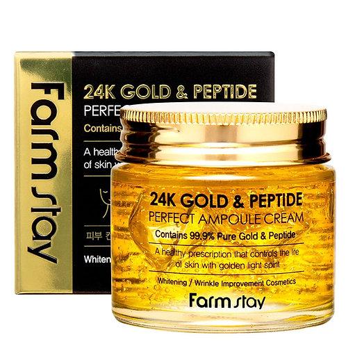 დაბერების საწინააღმდეგო კრემი FARMSTAY 24K Gold & Peptide Cream (80 ml)