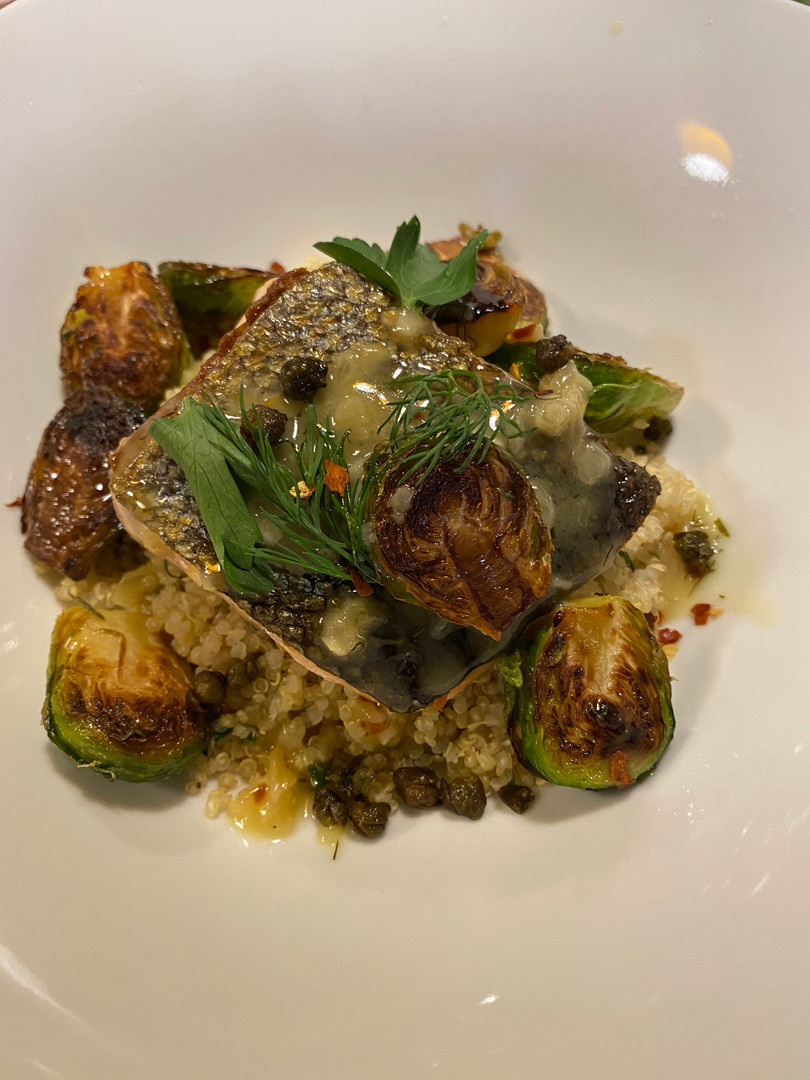 Crispy Skin King Salmon with Spicy Citrus Brussel Sprouts