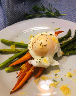 Rosemary Roasted Asparagus & Carrots with Poached Egg
