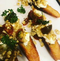 Roasted Corn & Cherry Tomatoes with Burrata on Grilled Baguette
