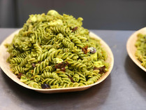 Kale Pesto Pasta Salad with Sundried Tomatoes, Kalamata Olives, & Feta