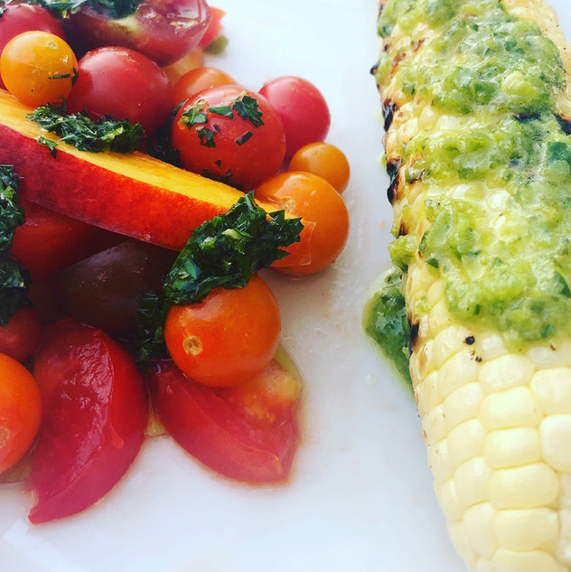 Tomato & Nectarine Salad with Grilled Corn and Roasted Poblano Butter