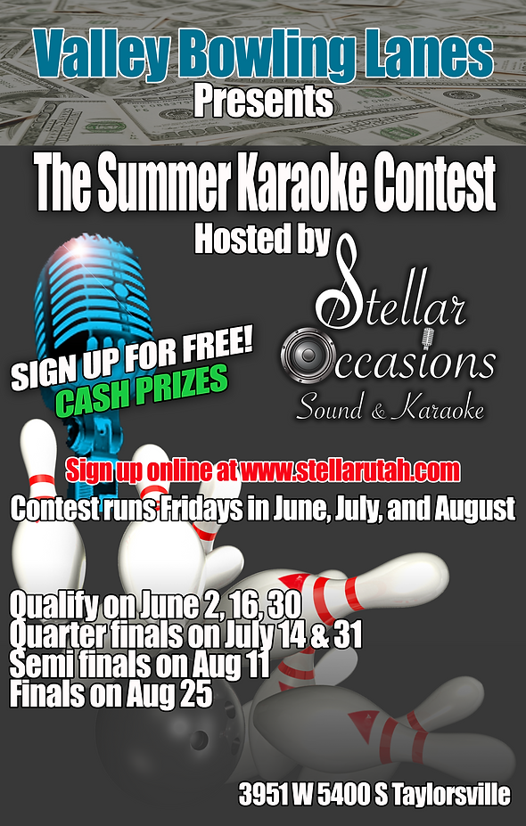 Stellar Occasions and Valley Bowling Lanes Summer Karaoke Contest
