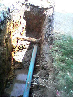 Sewer and water line excavations
