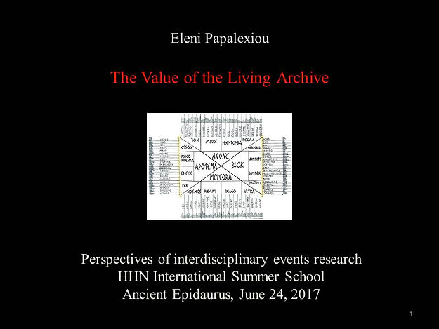 """E. Papalexiou, """"The Value of the Living Archive"""""""