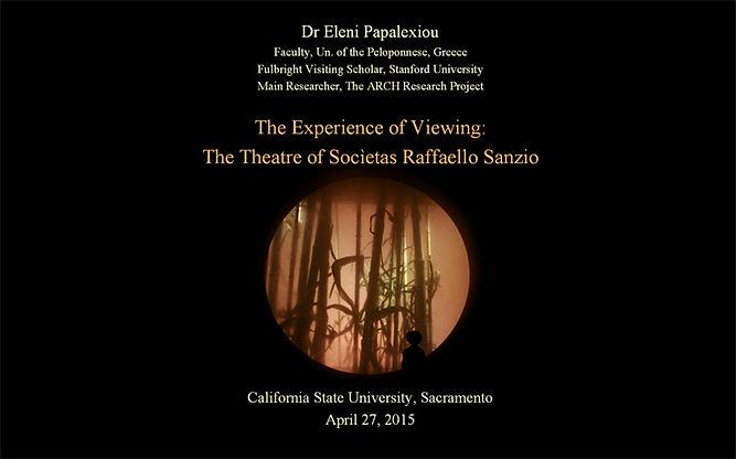"E. Papalexiou, ""The Experience of Viewing. The Theatre of Socìetas Raffaello Sanzio"""