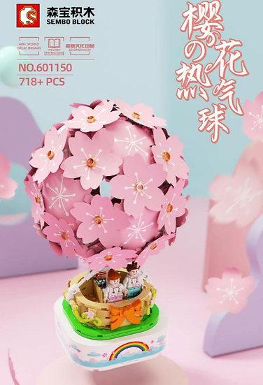 森寶-櫻花熱氣球 燈光旋轉音樂盒積木