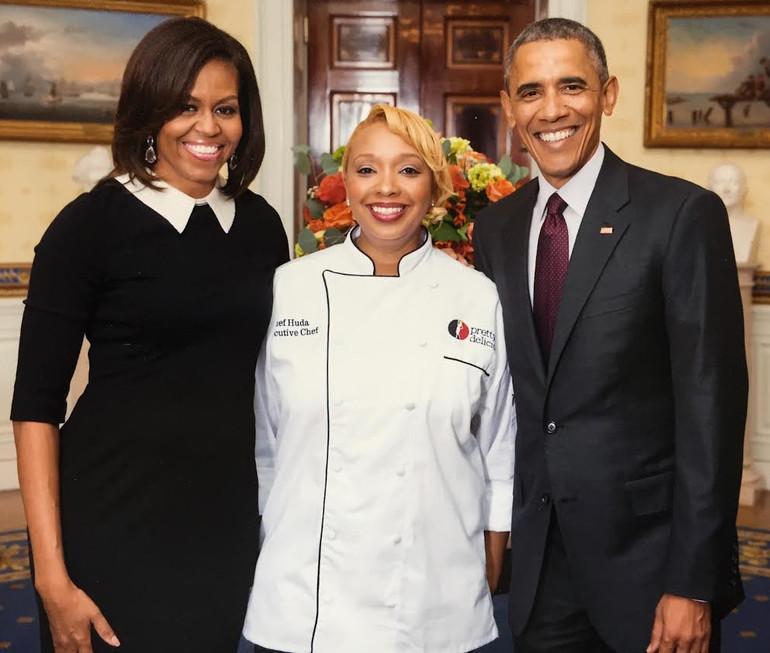 Chef Huda with President Obama & FL Mich
