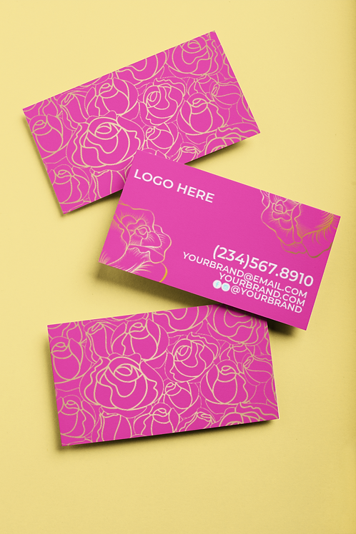 PREMADE PINK AND GOLD FLOWER BUSINESS CARD DESIGN