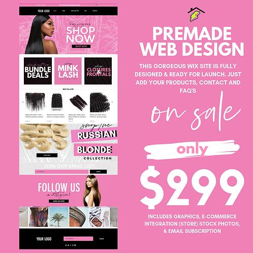 PINK PRE-MADE HAIR/LASH WEBSITE