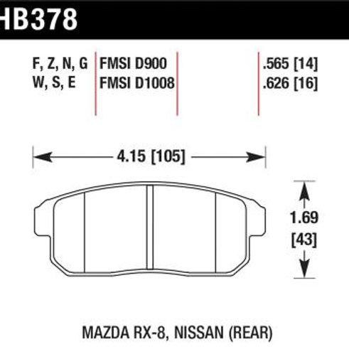 Hawk HP Plus Rear Brake Pads HB378N.565