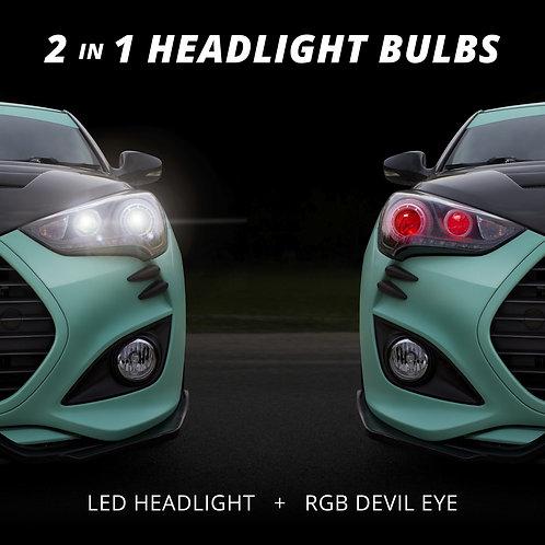 XK GLOW 2 IN1 LED HEADLIGHT + MULTI-COLOR DEVIL EYE
