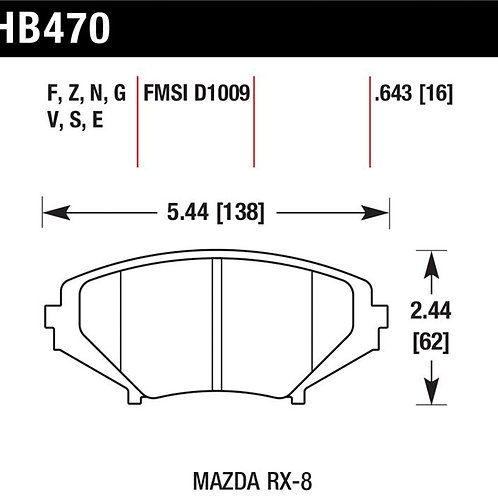 HAWK HPS FRONT BRAKE PADS (HB470F.643)