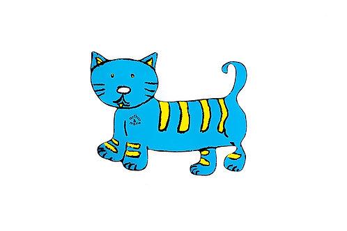 Boîte à musique chat bleu