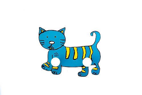 Porte-manteau chat bleu