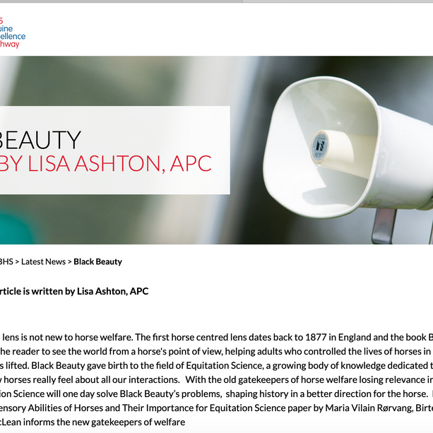 Black Beauty Article In BHS APC Newsletter April 2021