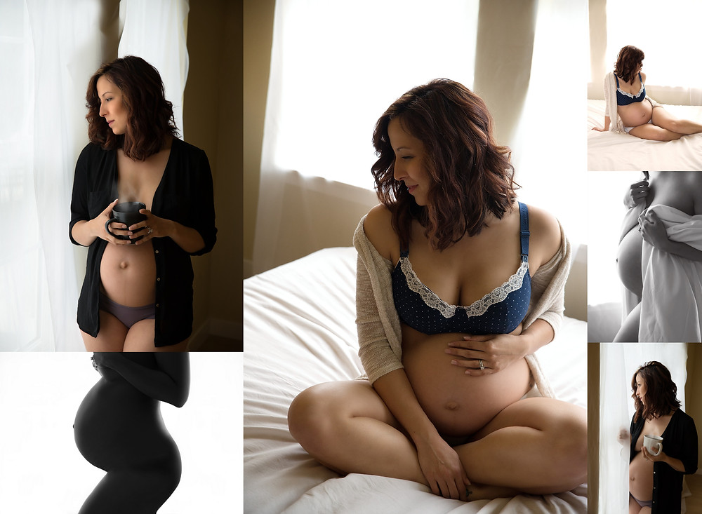 in studio, intimate maternity photo shoot