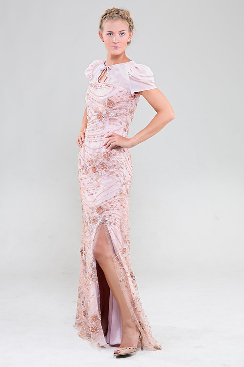 Kelly pearl beaded couture gown