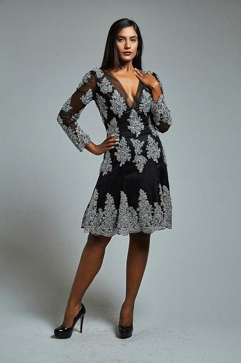 Crystal-Embellished Sequinned dress