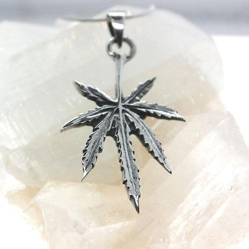 Marijuana Leaf - 925 Sterling Silver Pendant