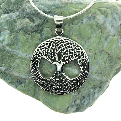 Tree of Life with Celtic Knot - 925 Sterling Silver Pendant