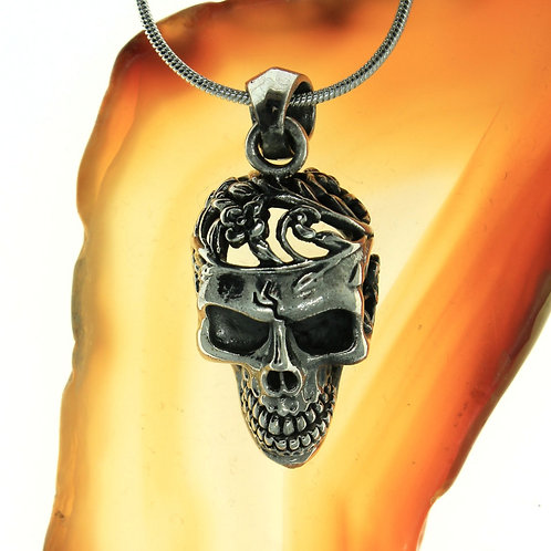 Skull with Flowers - 925 Sterling Silver Pendant