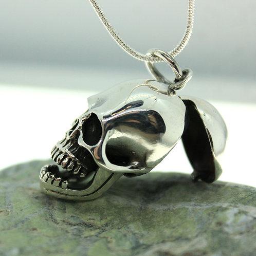 Skull Locket - 925 Sterling Silver Pendant