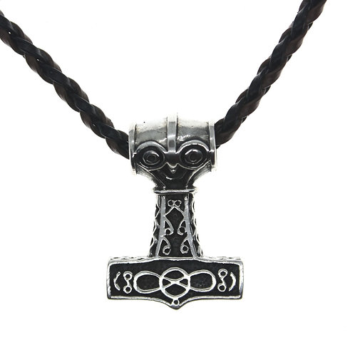 Mjolnir Thor Hammer with Face and Celtic Pattern - 925 Sterling Silver P