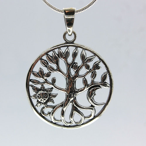 Tree of Life with Sun & Moon - 925 Sterling Silver Pendant