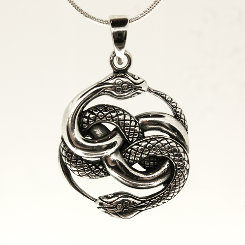 Intertwined Snake - 925 Sterling Silver Pendant