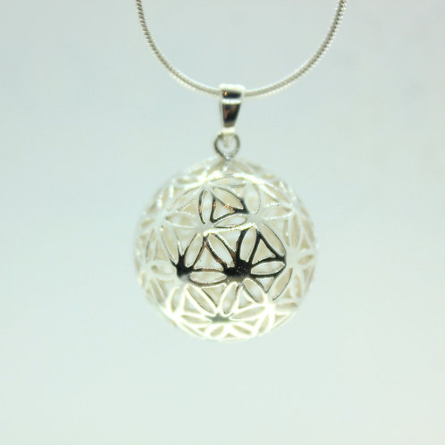 Flower of Life 3D Ball - 925 Sterling Silver Pendant