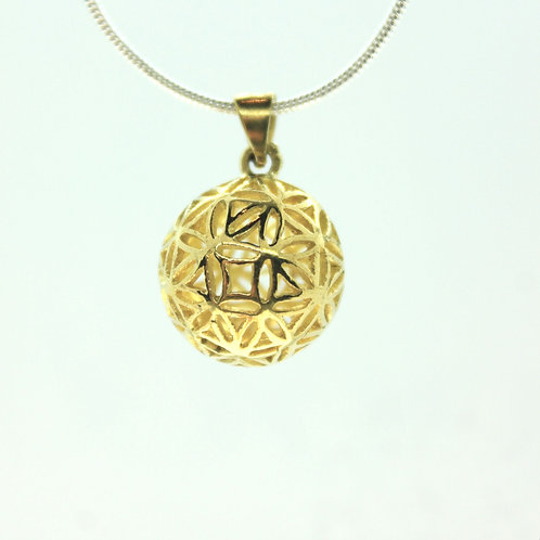 Flower of Life Sphere - Bronze Pendant