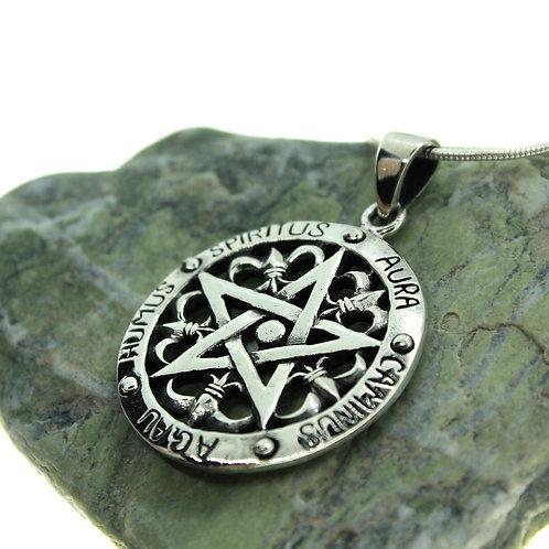 Woven Pentacle / Pentagram with Angel Namesames - 925 Sterling Silver Pendant