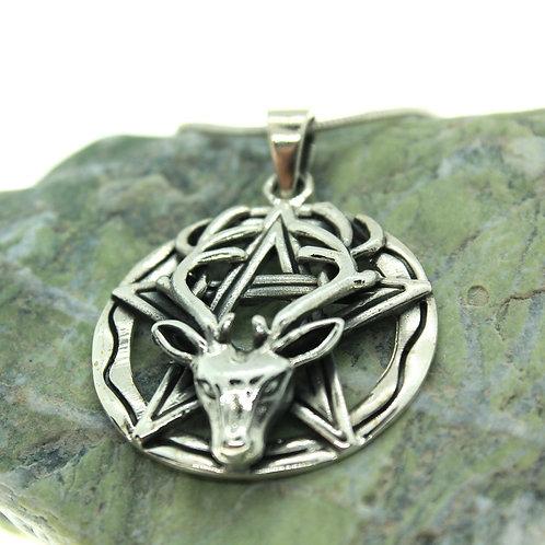 Deer Pentacle / Pentagram - 925 Sterling Silver Pendant